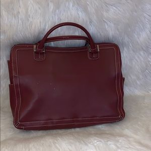 Franklin Covey red leather briefcase laptop bag